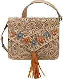 American West Women's Flower Power Flap Crossbody Bag Sand One Size