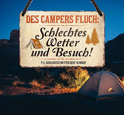 """514d8OW5ZTL schilderkreis24 – Blechschild Lustiger Spruch """"des Campers Fluch"""" Deko Metallschild Geschenkidee Retro Camper Wohnwagen…"""