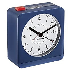 MARATHON CL030053BL Classic Silent Sweep Alarm Clock with Auto Night Light. Batteries Included