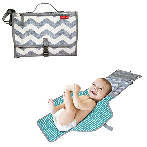 Tiny Tot Toddler - Tiny Tot Co. Portable Diaper Changing Pad Station for Newborn Baby, Infant, Small Toddler-reusable, Wipeable, Washable, Waterproof mat-cute Compact Clutch for Travel and Home- Baby blue,white,chevron.