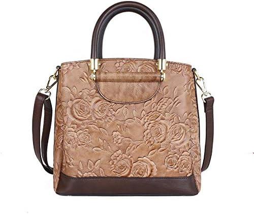 ハンドバッグ - 女性のレトロフラワー本革エンボスショルダーバッグレディースブラウンクロスボディトートバッグを毎日旅行ショッピング、24 * 21 * 12CM よくできた