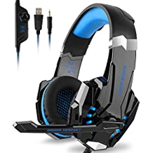 DIZA100 Kotion Each G9000 Gaming Headset Headphone 3.5mm Stereo Jack with Mic LED Light for Xbox One S/Xbox one/PS4/Tablet/Laptop/Cell Phone-Black&Blue