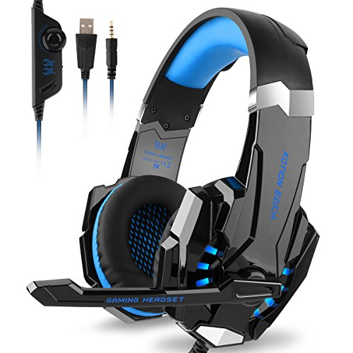 DIZA100 Kotion Each G9000 Gaming Headset Headphone 3.5mm Stereo Jack with Mic LED Light for Xbox One S/Xbox one/PS4/Tablet/Laptop/Cell Phone-Black&Blue Review