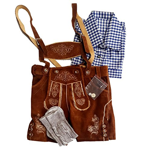 Kiddy Tracht Kids Bavarian Trachten 3 Piece Set, Brown, 116/US (Traditional German Boy Clothing)