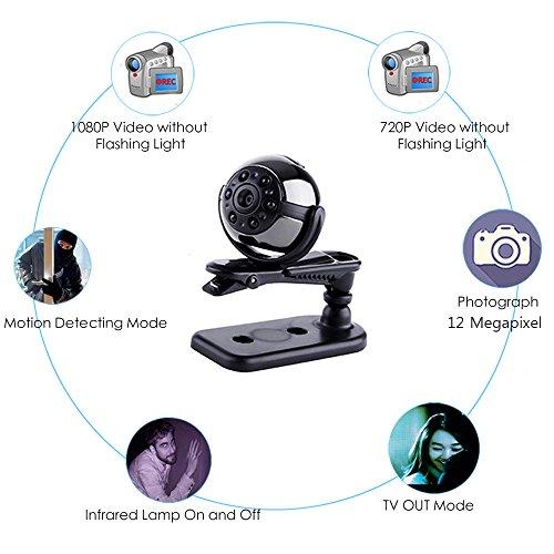Mini Cámara Oculta Espía, Vaxiuja Ultra-Pequeña Ronda Diseño 1080P Full HD Cámara Portátil Visión Nocturna 12 Megapíxeles Detección De Movimiento 360 Grados ...