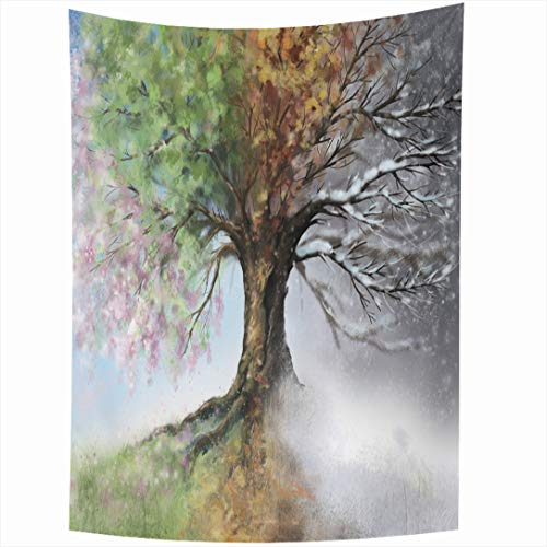 Ahawoso Tapestry 60x80 Inch Leaf Colorful Grass Winter Digital Four Season Tree Nature Green Spring Branch Blossom Garden Summer Autumn Tapestries Wall Hanging Home Decor Living Room Bedroom Dorm from Ahawoso