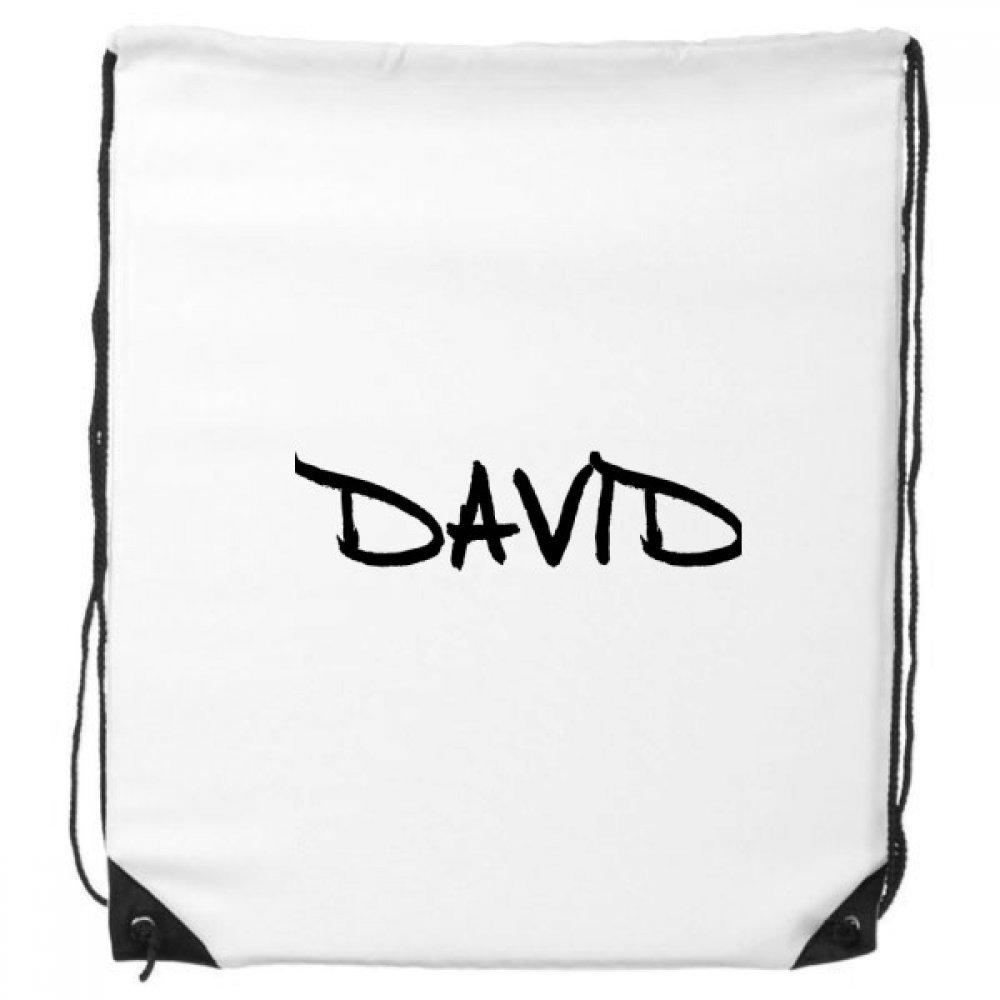 特別な手書き英語名David Drawstringバックパックショッピングハンドバッグギフトスポーツバッグ B073PT71TL