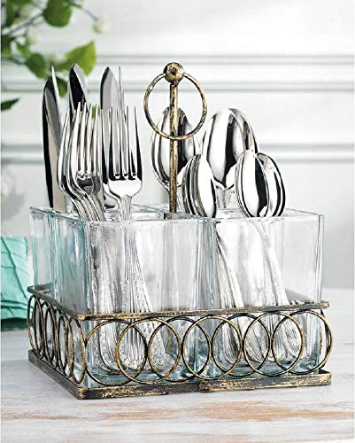 4 Section Square Utensil Caddy with handle, Flatware Caddy Holds Forks, Spoons, Spatula - Vintage Flatware Organizer Set - Silverware Holder For Kitchen Countertop Storage