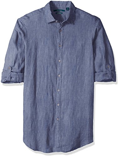 Perry Ellis Solid Rolled Sleeve Linen