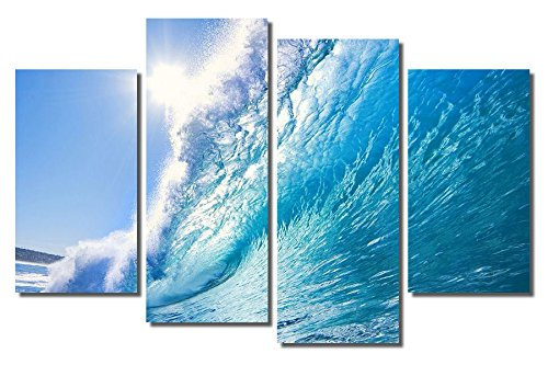 Picture Sensations Framed 4-Panel canvas Art Print, ocean Wave - 48