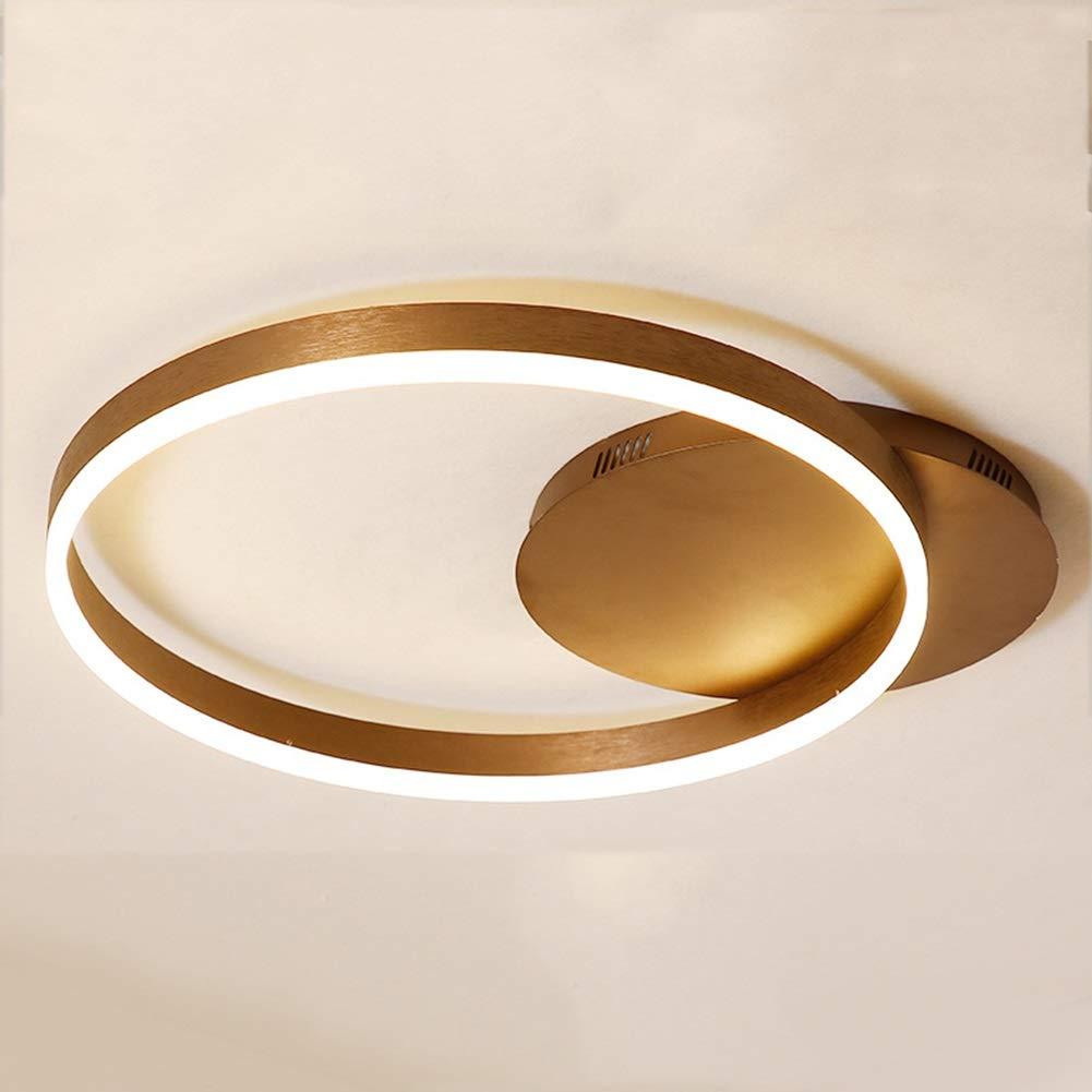 KAIRRY Modern Einfachheit Aluminium Deckenlampe LED Braun Deckenleuchte Acryl Lampenschirm Schlafzimmer Wohnzimmer Ultra-Dünn Design Deckenlampen (Farbe   Warmes Licht, Größe   50CM)