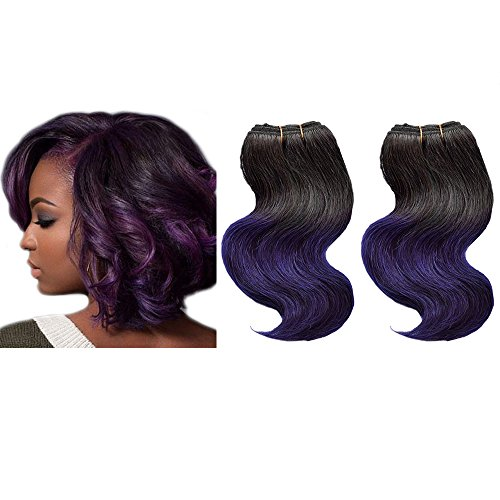 Emmet Brazilian Hair Extension Ombre Color Virgin Hair Can be Dyed and Permed Body Wave Hair Extension Easy Installing&Sewing 8Inch Short Size 100% Human Hair Weave 2PCS/Lot 50g/Piece (Cheap Coloured Wigs)