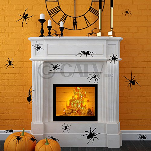 Halloween Large Spiders scary decals Halloween wall stickers prank party decor home decorations vinyl wall decals(set of 20) ()
