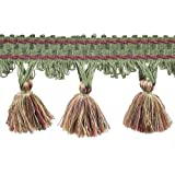 31/2'' Tassel Fringe on 25-Yard Roll, Green/Rust and Gold