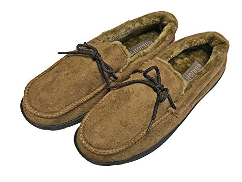Mens Faux-Suede Moccasin Slippers with Soft Sole Camel u8qOQS