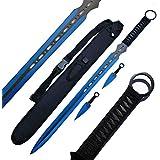 "Ace Martial Arts Supply Ninja Machete Sword with Throwing Knife Full Tang Tactical Blade Katana, 27"""