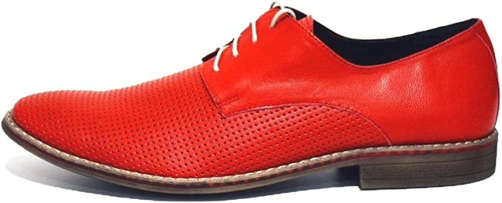 Cowhide Smooth Leather Handmade Italian Mens Color Red Oxfords Dress Shoes Modello Pesaro Lace-Up