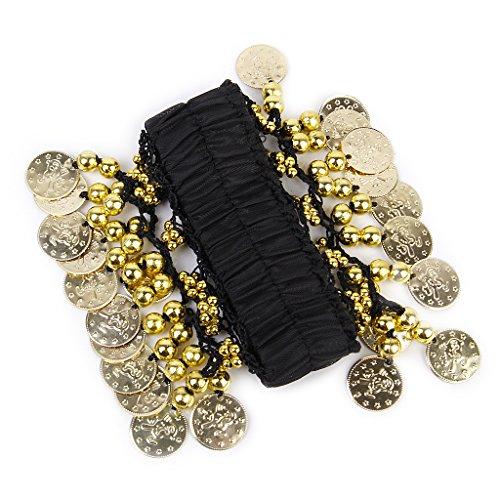 Belly Dance Arm Ankle Cuff Wrist Bracelet w/ 24 Golden Coins - Black