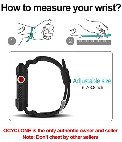 Apple Watch Band 42mm, Ocyclone Apple Watch Series 3 42mm Band iWatch 3/2/1 Sport Protective Bumper Case Strap Replacement for Active Style Men and Women by OCYCLONE (Image #5)