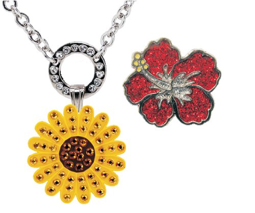Navika Magnetic Necklace with Swarovski Crystal Yellow Sunflower and Glitzy Red Hibiscus Ball Markers (Sunflowers Swarovski)
