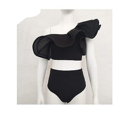 aa743b70aa50c Amazon.com  Ruffles Swimsuit Women Striped Two Piece Bikini Set One Off  Shoulder Swimwear Sexy Beach  Clothing