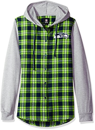 NFL Seattle Seahawks Womens NFL Women's Lightweight Flannel Hooded Jacket, Large by Forever Collectibles