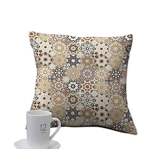 Needlepoint Brown Paisley (Support Pillows case Eastern,Octagonal and Square Ornaments Retro Colored Old Fashioned Tile,Beige Dark Brown Pale Brown.jpg 20