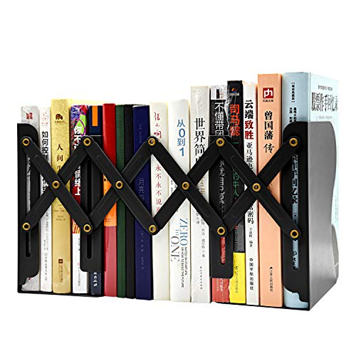 Storage Bookends - Bookends Adjustable Metal Bookends Desktop Organizer Office Storage Rack Adjustable Display Bookshelf Decor for Bedroom Library Office School Book Display(Black)