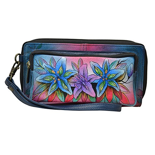 Anuschka Handpainted Leather Women's Rfid Blocking Zip Around Wallet by Anna by Anuschka