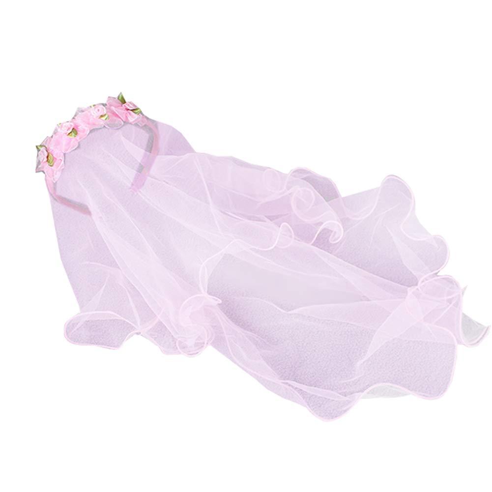 Apregies Baby Girls Floral Headband with 2-Tier Veil Headwear (21.65 inch veil, Pink)