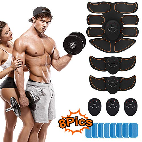 BBOUTEY ABS Abdominal Muscle Trainer Portable Muscle Toner EMS AB Abdomen Toning Belt for Men Women Body Work Out Wireless ABS Training Set with 6 Modes & 10 Intensity Unisex