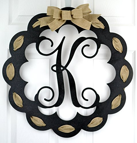- Letter L - Monogrammed Door Hanger | Mom Gift | Black and Burlap Everyday Year Letter Door Hanger