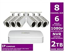 Q-See QC858-6P4-2 8 Channel NVR Security Surveillance System with 6 High Definition *1080p* IP Cameras and 2TB Hard Drive (White)