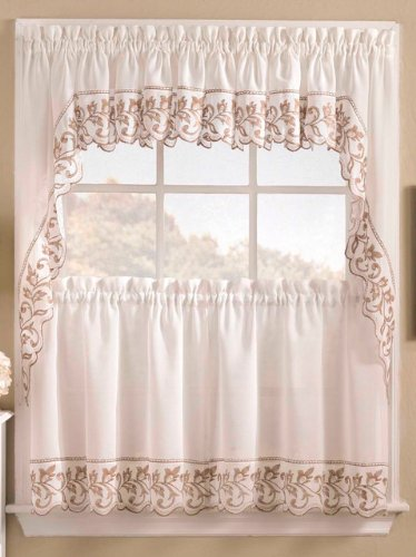 Brittany - Ivory - 24'' tier (pr) Kitchen Curtain