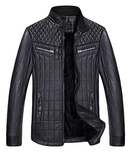 today Jacket Winter Mens Black Outwear Warm Faux Thicken UK Leather Coat rE8qgrwn
