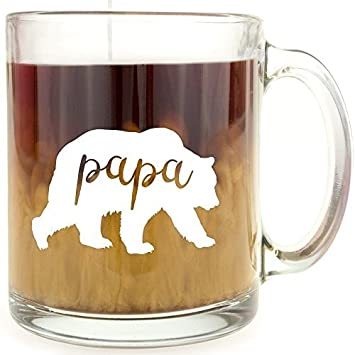 Papa Bear Glass Coffee Mug Novelty Quotes Cup Motivational Gifts Christmas Funny