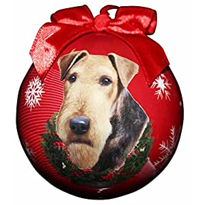 """Airedale Christmas Ornament"" Shatter Proof Ball Easy To Personalize A Perfect Gift For Airedale Lovers 4"
