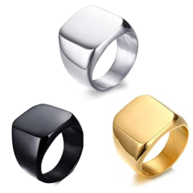 New Men Stainless Steel Ring Polished Band Signet Ring Black Silver Gold