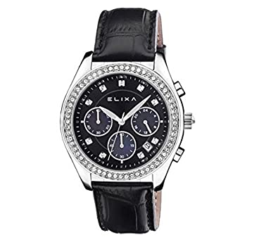 Cronógrafo Elixa Enjoy Reloj Chrono Mujer Acero Piel ...