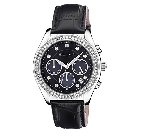 Cronógrafo Elixa Enjoy Reloj Chrono Mujer Acero Piel cristales e084-l316: Amazon.es: Relojes