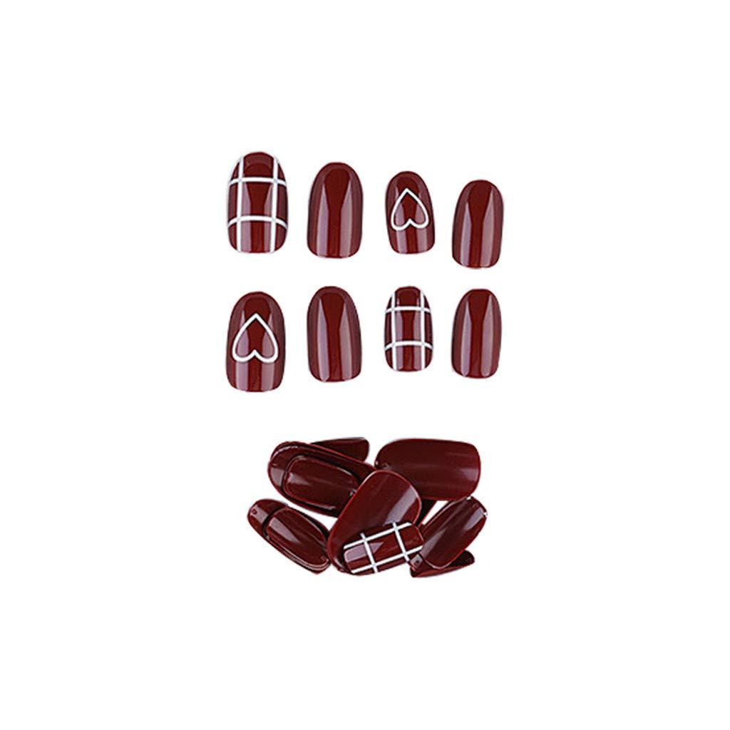 24 piezas de uñas postizas extraíbles, Bloodfin Popular Red Nail ...