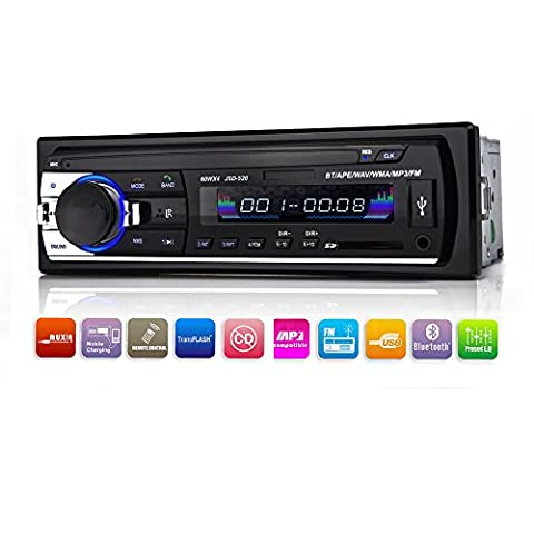 Car Stereo with Bluetooth,In-Dash Single Din Car Radio, Car MP3 Player USB/SD/AUX/Wireless Remote Control Included by (Audio De Auto)