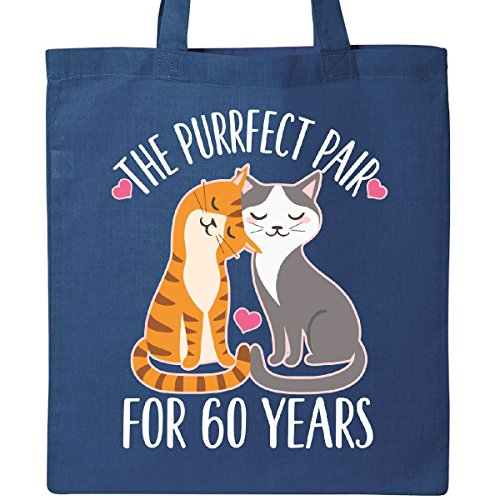 Inktastic - 60th Anniversary Gift Cat Couples Tote Bag Royal Blue by inktastic