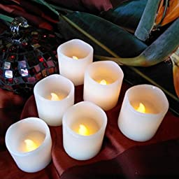 LED Lytes Flameless Candles, Battery Operated Votive Wax and Amber Yellow Flame for Weddings and Parties,  2\