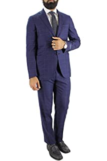 Abito da Uomo Invernale Elegante in Lana Modello Monopetto vestibilità Slim  Fit Fantasia Quadri Giacca 2 79ef349a334