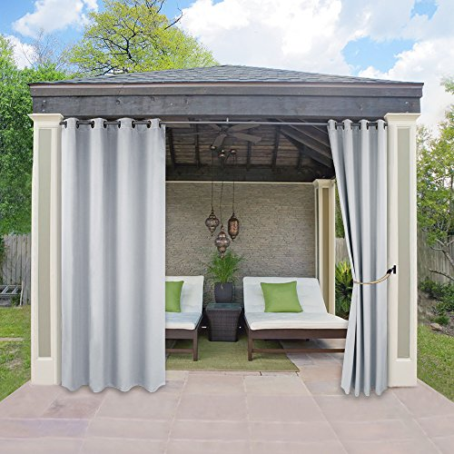 Outdoor Indoor Patio Curtain Drape - RYB HOME Mildew Resistant Water Repellent Polyester Silver Grommet Blackout Curtains for Porch, 1 Piece, W 52 x L 84 In, Greyish White (Patio With Curtains)