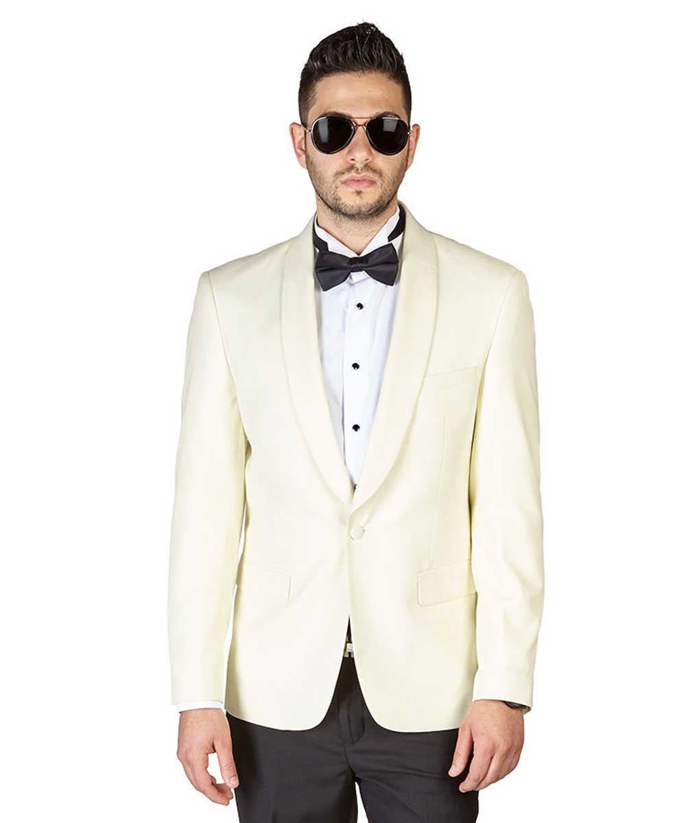 Slim Fit 1 Button Ivory Shawl Lapel Collar Tuxedo Jacket Modern Dinner Blazer AZAR (38 Short, Solid Ivory)