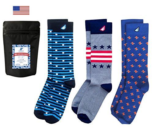 Mens Fun Dress Socks Color-ful Gift 3-Pack Awesome Happy Crazy, Made in America