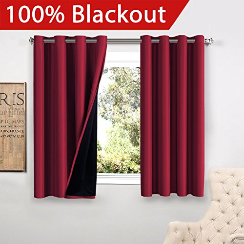 FlamingoP Christmas Decoration Full Blackout Cardinal Curtains Faux Silk Satin with Black Liner Thermal Insulated Window Treatment Panels, Grommet Top (52 x 63 Inch, Set of 2)
