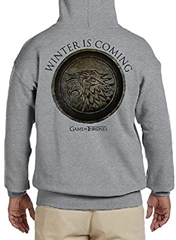 HBO's Game of Thrones House Stark Winter is Coming Mens Grey Zip-up Hoodie L (Funko Pop Lion King Set)